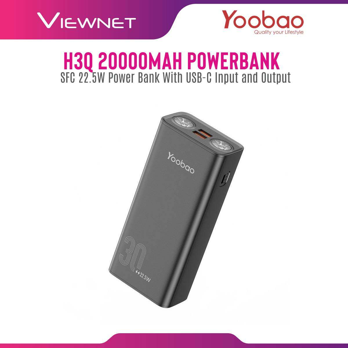 Yoobao H3Q 30000mAh PD3.0 (PPS) Quick Charge 3.0 / SFC 22.5W Power Bank With USB-C Input and Output