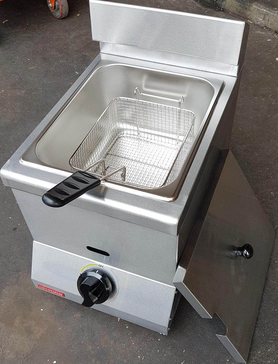 1 year warranty 5.5 liter single stainless steel power oil handle in supply adjustable gas air pipe hose deep natural fryer frying fry top control basket burn burner tank pan pot wok tool machine stand stove fire hot heater