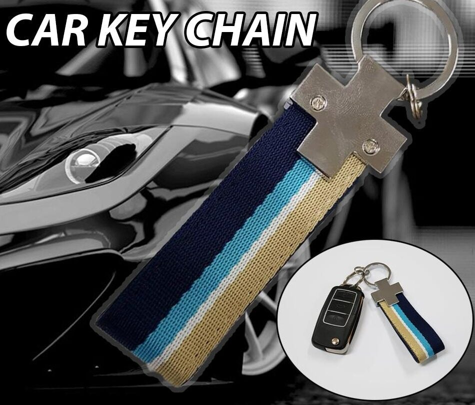 Broz Stainless Steel PVC Blue Brown Universal Strap Key ring Key Chain Ring