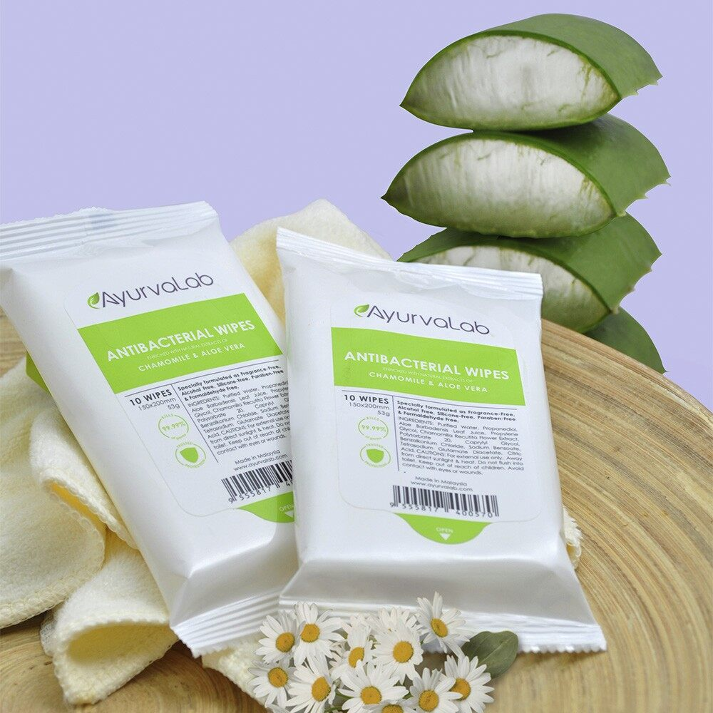 Antibacterial Wipes 6 in 1 Pack (6 x 10's), Natural Extracts, Chamomile, Aloe Vera, Fragrance-Free, Alcohol-Free, Silicone-Free, Paraben-Free, Effective, Safe, Gentle to Skin, Child Friendly, Soothing, Kill 99.99% of germs, Ready Stock
