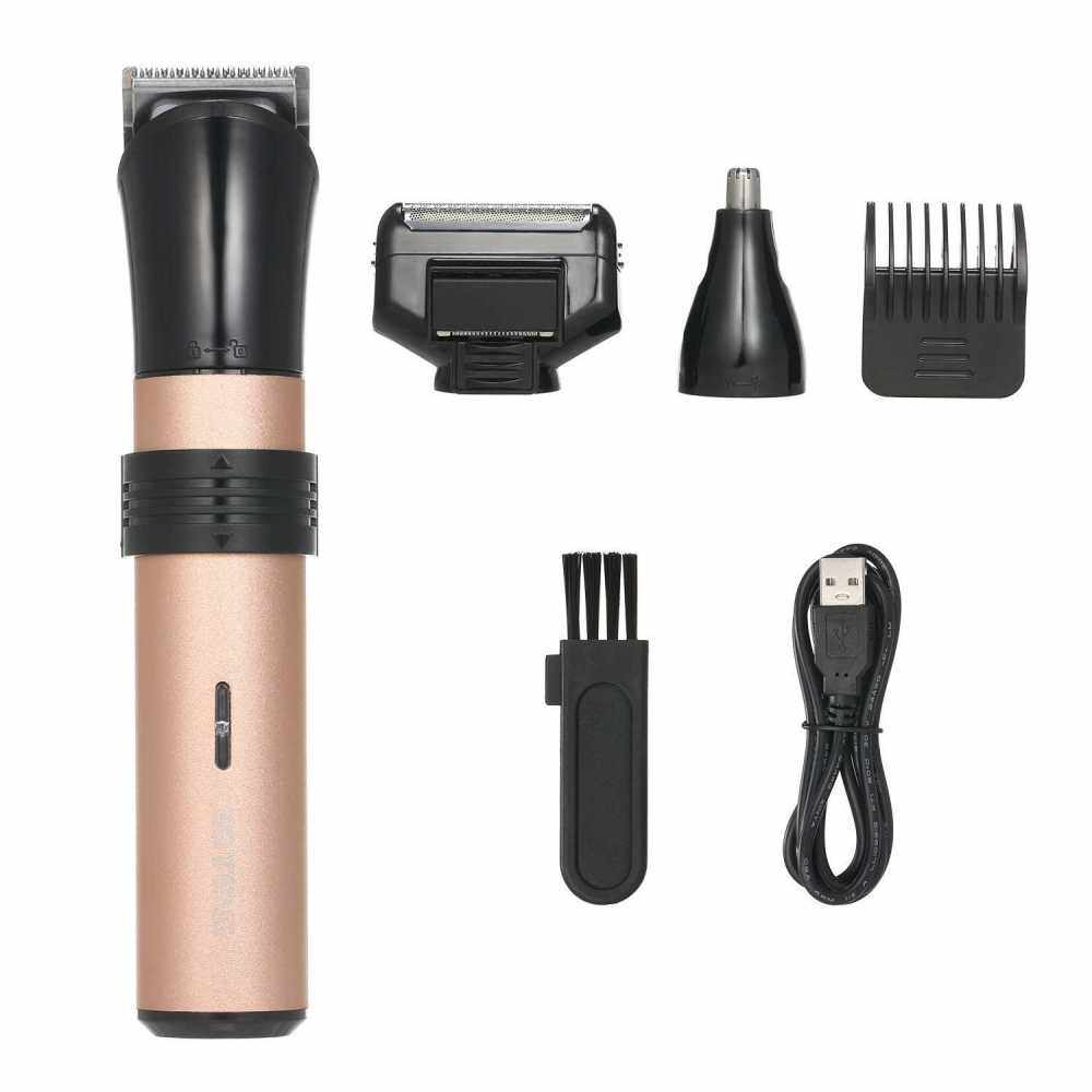 Electric Hair Clipper Kit Rechargeable 3-In-1 Beard Mustache Shaver Cordless Hair Trimmer with Guide Comb & Nose Hair Remover for Detailing & Grooming Hair Cutting Kit (Standard)