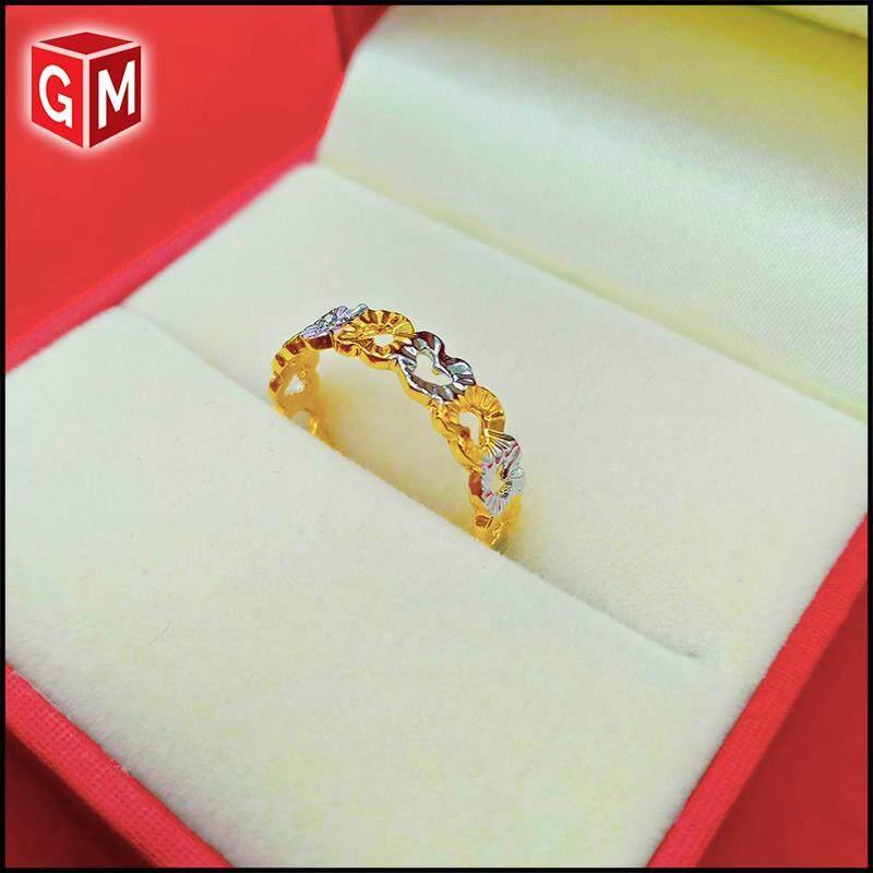 Emas Korea Gold Sliver Plated Ring - Emas Cincin Love Mix (Ring EK-8003-8) For Women