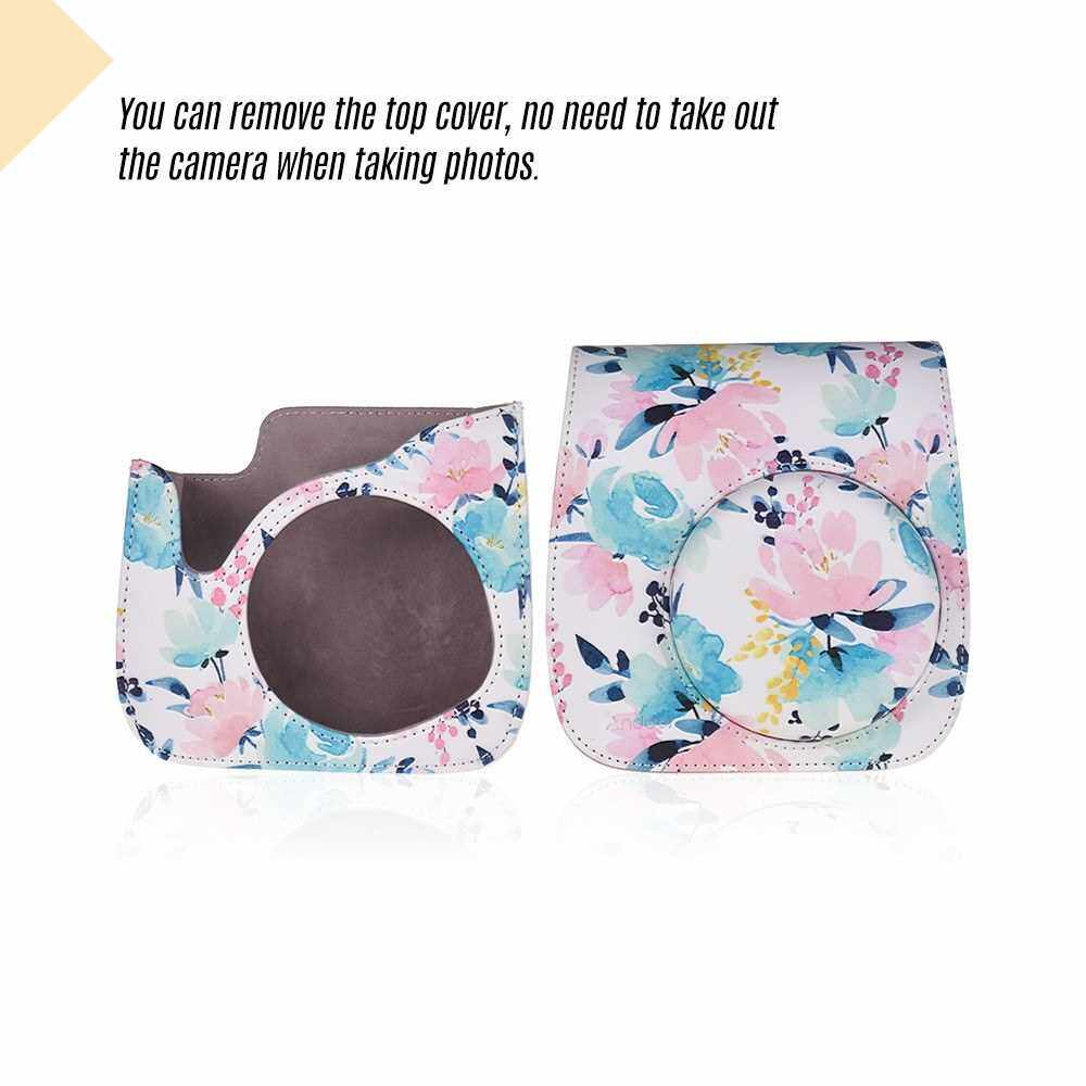 Andoer Camera Case Protective PU Leather Bag with Strap Accessories Pocket for Fujifilm Instax Mini 8/9 Instant Film Camera ()
