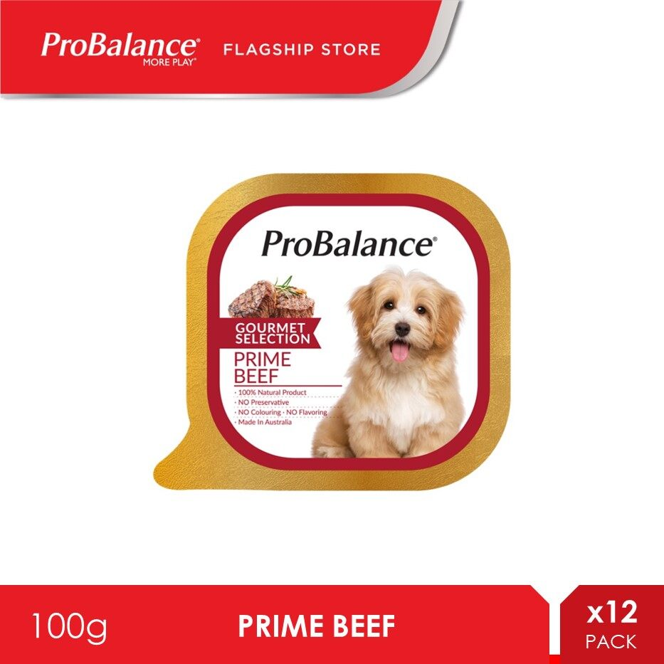 ProBalance 100G Prime Beef Gourmet Selection Wet Dog Food x 12 Packs [makanan anjing]