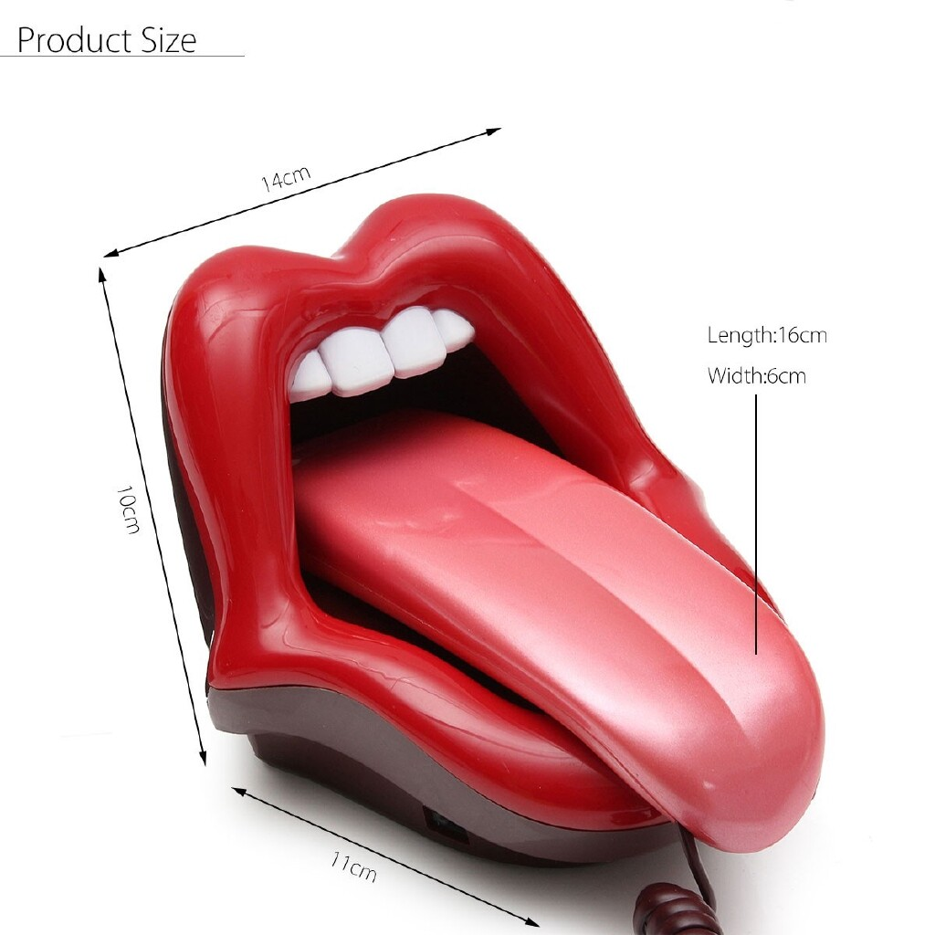 Microphones - Lips Telephone Retro Style Novelty Corded Big Mouth Red Phone Novelty Gift Home - Audio