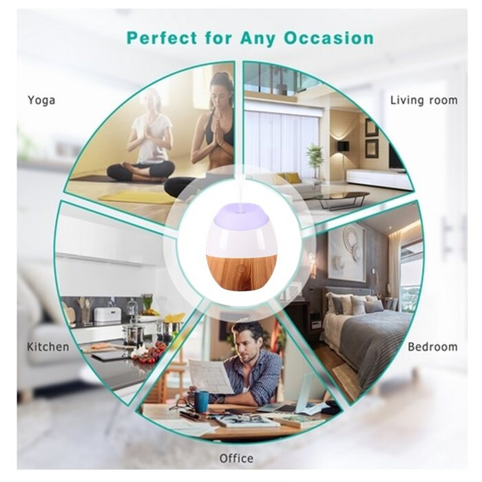 HAIRperone USB Aroma Diffuser Ultrasonic Oval Wood Grain (120ml)