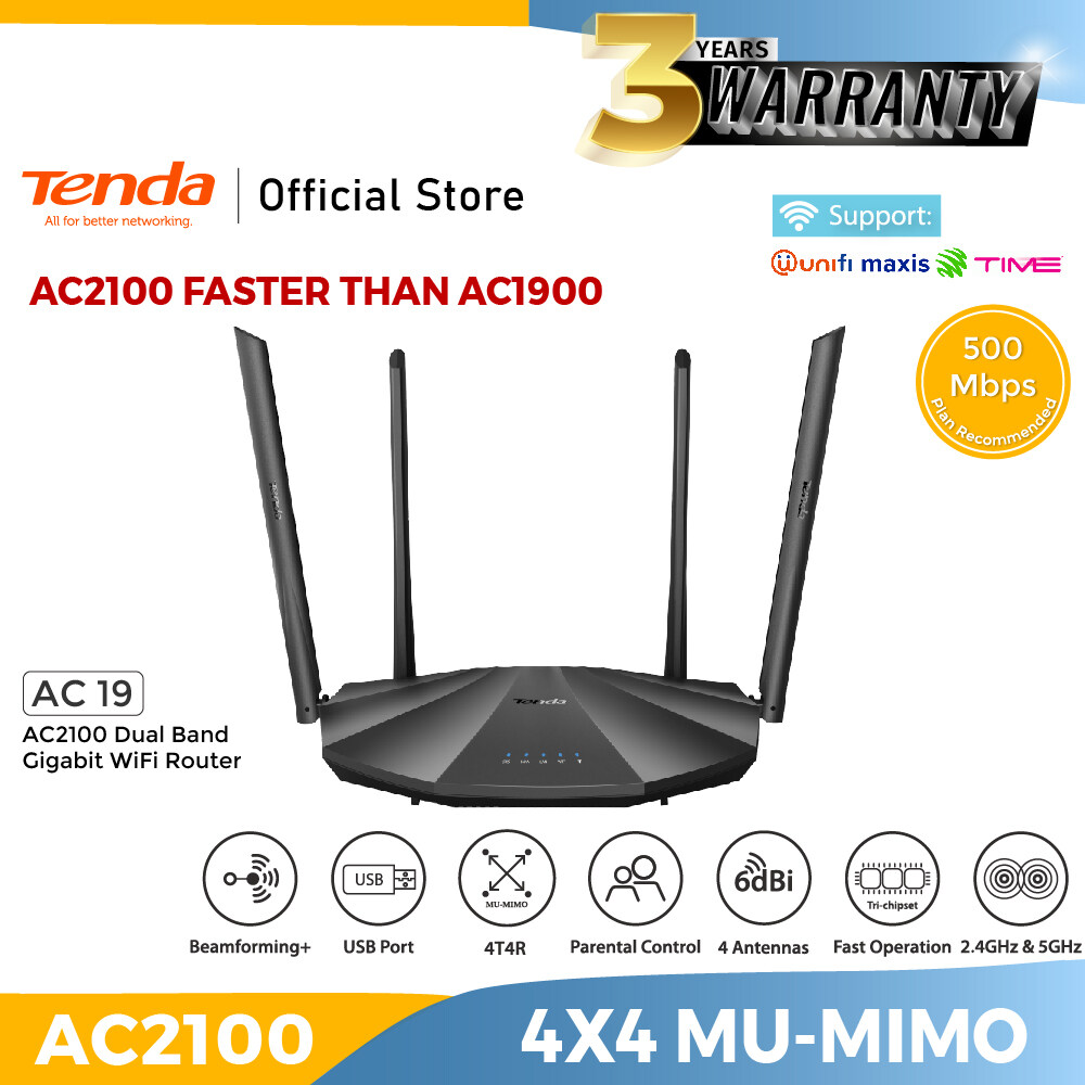 Tenda AC19 Smart WiFi Router Dual Band Gigabit Wireless (up to 2033 Mbps) / Internet Router for Home,Parental Control Compatible with Alexa (AC2100)