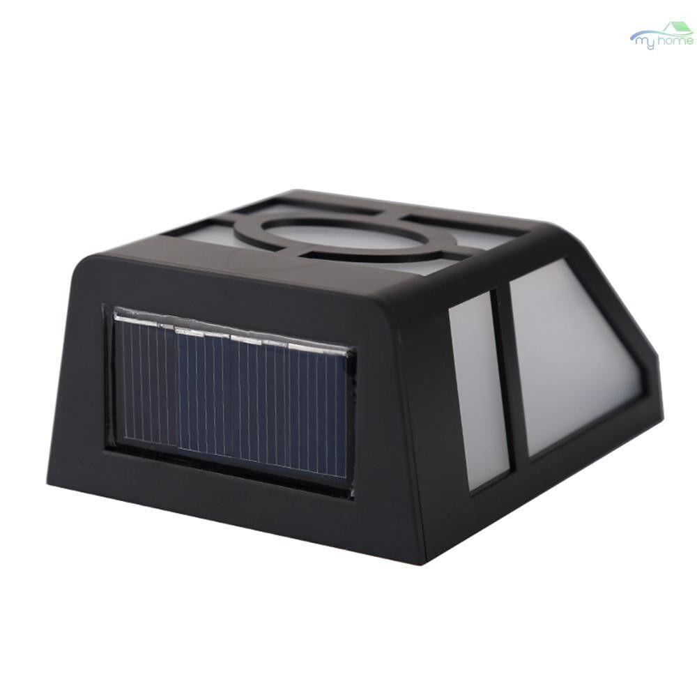Lighting Fixtures & Components - Solar Powered LED Light Wall Lamp 2 LEDs Solar Energy Light Sensor Wall Night Lights Energy - BLACK