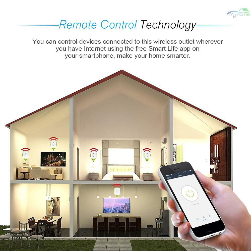 Plugs & Adapters - 2 PIECE(s) MINI Smart WiFi Socket EU Type F Remote Control by Smart Phone from Anywhere Timing Function, - WHITE-2 PIECE(s) / WHITE