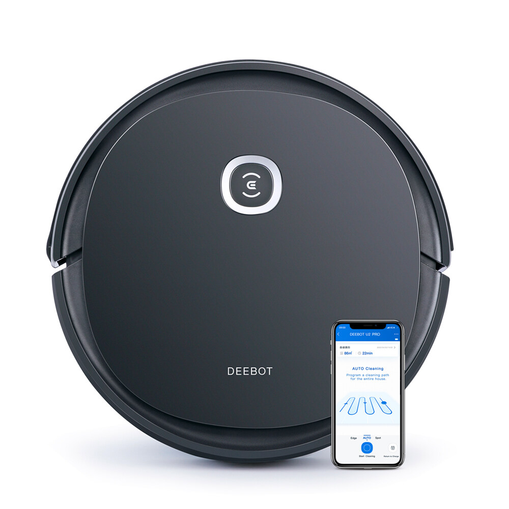 ECOVACS DEEBOT U2PRO Robot Vacuum Cleaner Scrubber for Pet Owners Intelligent Robotic Vacuum and Mop Vacuum[Local Shipping&I Year Waranty]