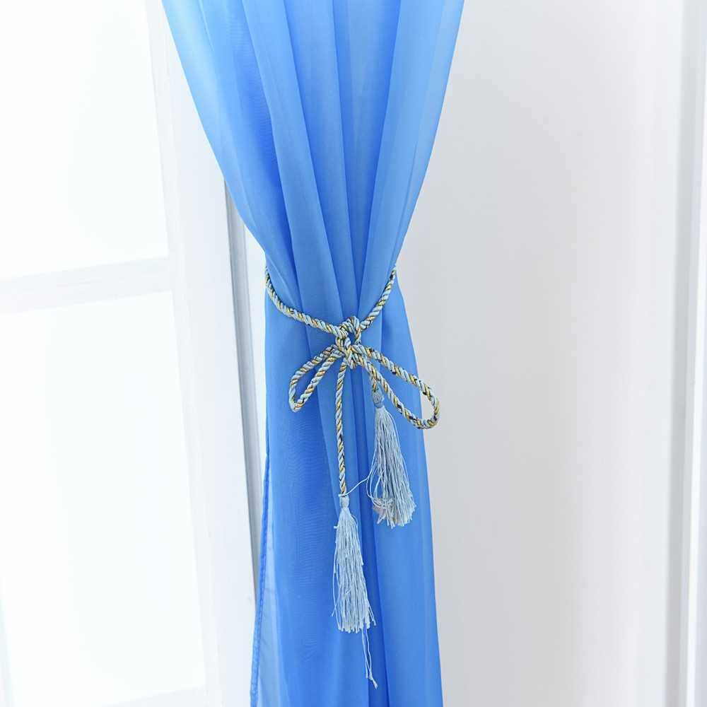 39 * 79inches Polyester Semi-Blackout Gradient Color Window Curtain Panel Living Room Bedroom Hotel Divider Voile Curtain with Rod Pocket--Blue (White+Blue)