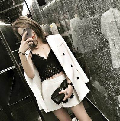 (Pre Order14 Days  JYS Fashion Korean Style Women Blazer +BottomSetCollection515-6155col515-6155--Pattern 2 White -S