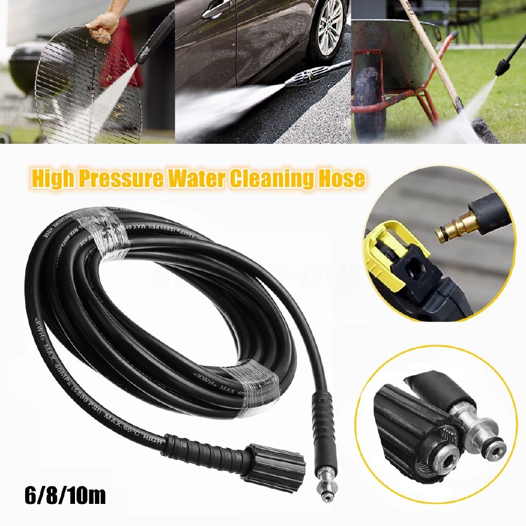 Wash & Wax - 6/8/10 Meters High Pressure Washer Water Cleaning Hose for Karcher K2 K3 K4 K5 - 10M