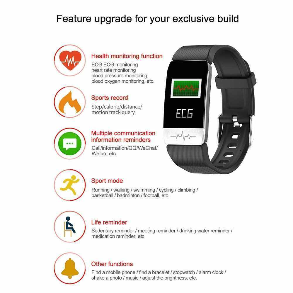 Smart Bracelet Thermometer Body Temperature Measurement Health Sleep Monitor Blood Pressure Heart Rate Smart Band Watch Waterproof Fitness Tracker (Blue)