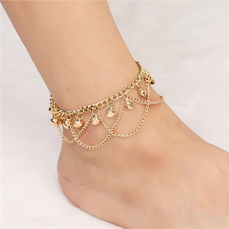 Lắc chân chuông tua rua màu vàng kim phong cách Bohemian thời trang đi biển dành cho nữ - Cutewomen2020