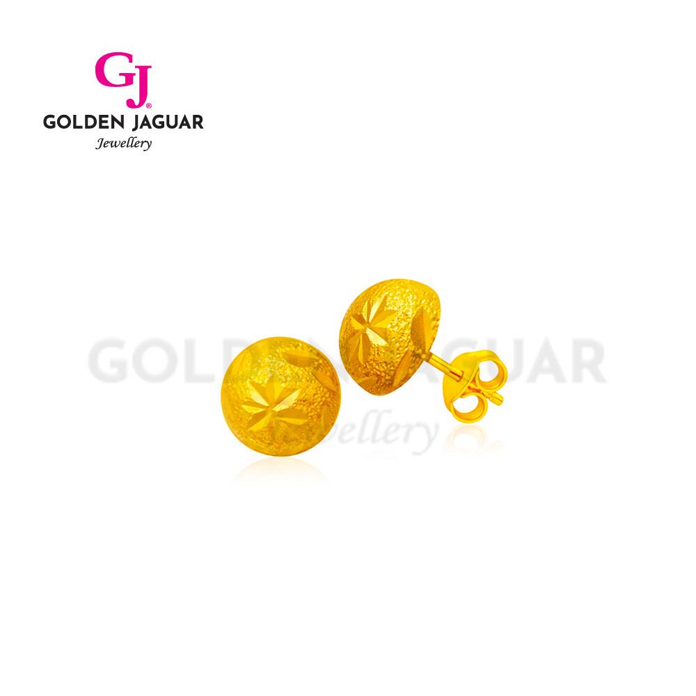 [Combo Set] GJ Jewellery Emas Korea Flower Gila-gila Necklace + Round Earring Combo Set 24K Gold Plated