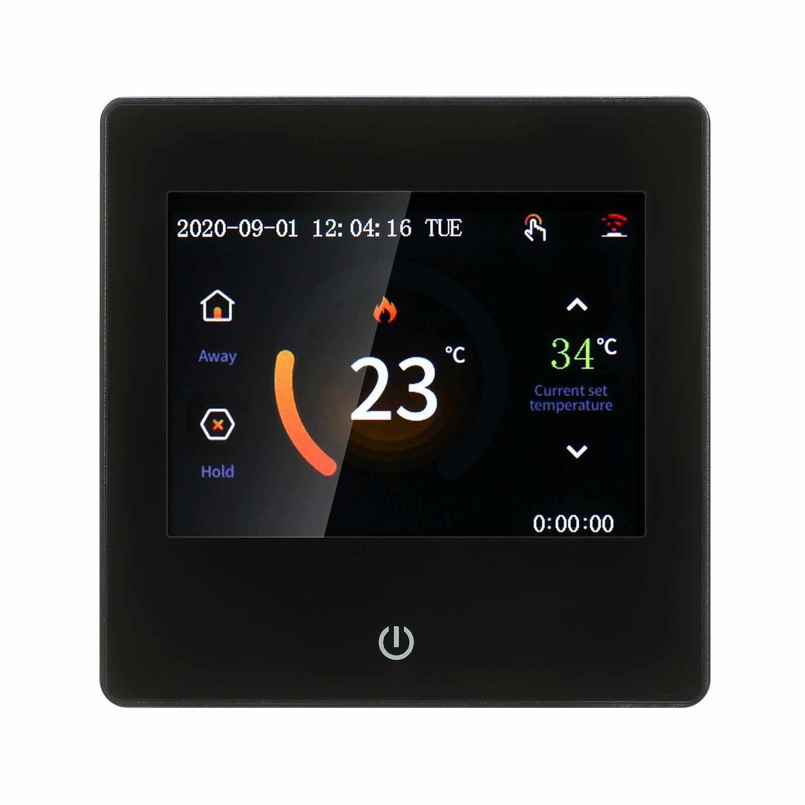 Smart Thermostat LCD Touch-screen Weekly Programmable Thermostat with WIFI Electric Heating 16A Digital Temperature Controller for Home School Office Hotel Black (Black)