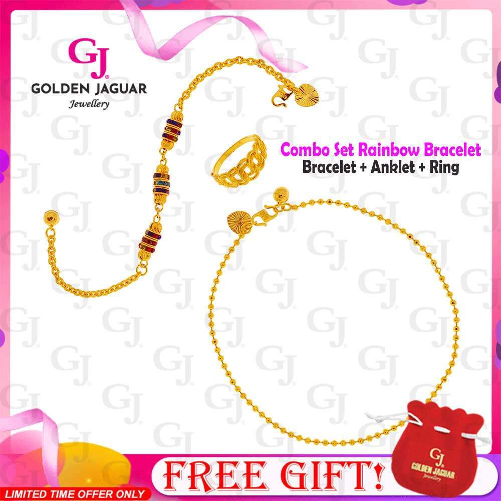 GJ Jewellery Emas Korea 24k Combo Set Rainbow - Bracelet Anklet Ring Premium Set