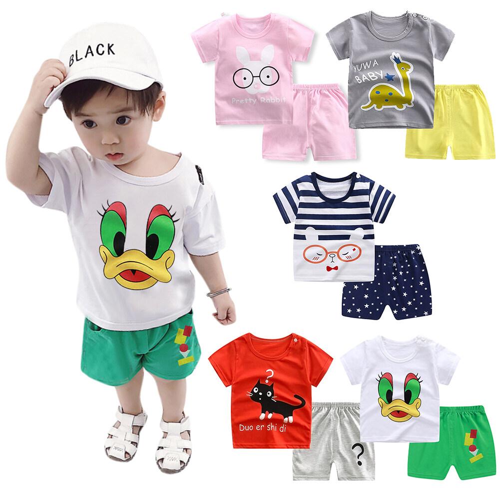 2pcs/set Boys Girls Cartoon Short Sleeve T-shirt + Shorts Breathable Suit