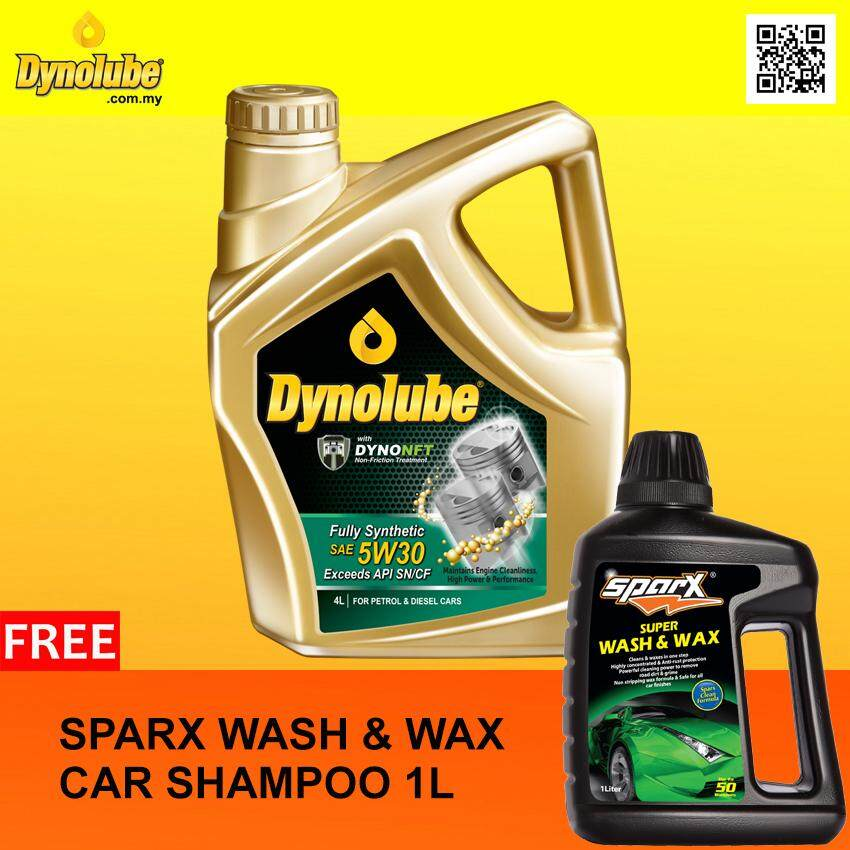 Dynolube 5W30 with DYNONFT Fully Synthetic Engine Oil SN/CF 4Liter FREE Sparx Car Shampoo X 1 [Limited-time Offer]