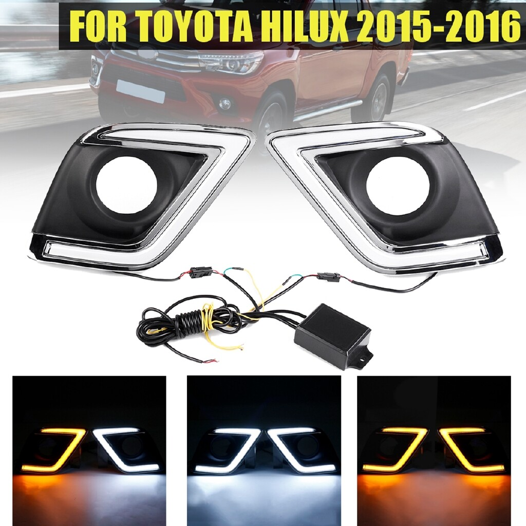 Car Lights - Pair LED DRL Daytime Running Lights Turn Signal Lamp For Toyota Hilux 2015-2016 - Replacement Parts