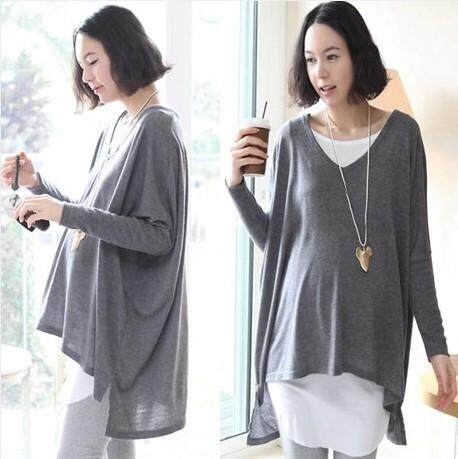 2 Pieces Pregnant Maternity Long Bat Big Sleeve Blouse