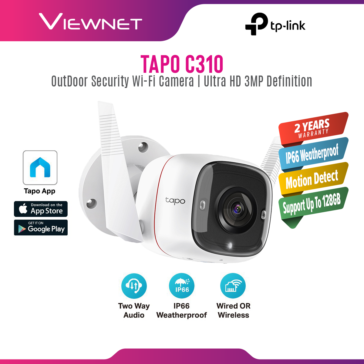 TP-Link TAPO C310 Ultra-High-Definition 3MP definition Wireless WiFi Smart Security IP Camera