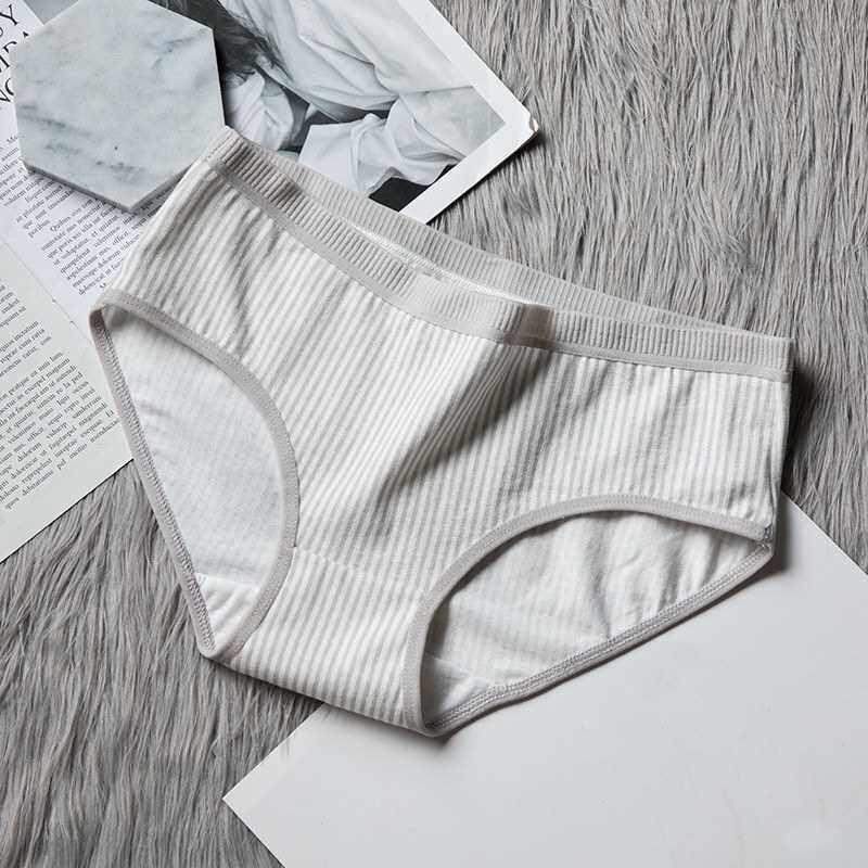 Women Briefs Cotton Blends Stretchy Comfortable Breathable Stripe Print Classic Vintage Underwear (Light Grey)
