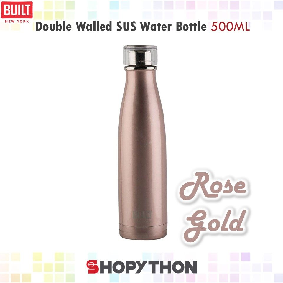 BUILT NY Double Walled Stainless Steel Water Bottle 500ml (Rose Gold) Thermal Flask Insulated Cold Drinks 24 Hours Hot Drinks 6 Hours Perfect Seal Cap Leakproof Fashion BPA-Free
