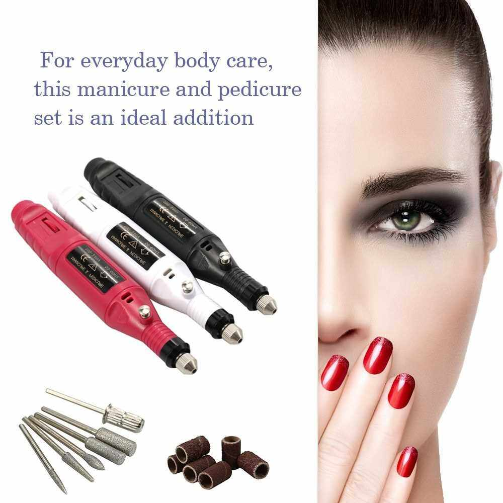 Mini Electric Grinder Drill Tool Nail Gel Polish Removing Drill Manicure Machine Grinding Rotary Tool Kit for Milling Trimming Polishing Engraving (Black)
