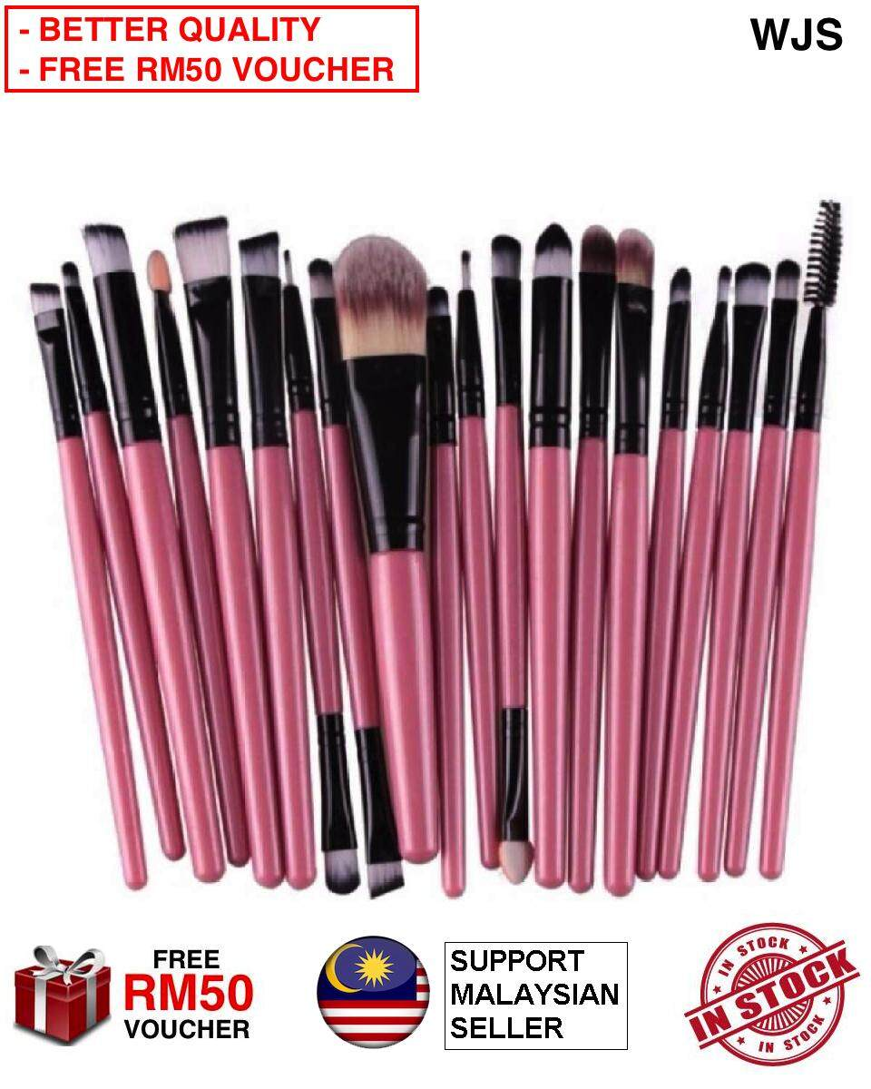 (HALAL BRUSH) WJS HALAL 20 pcs 20pcs Mini Make Up Brush Travel Set Makeup Brush Set Tools Makeup Toiletry for Travelling Portable Kit Pink Black [FREE RM50 VOUCHER]