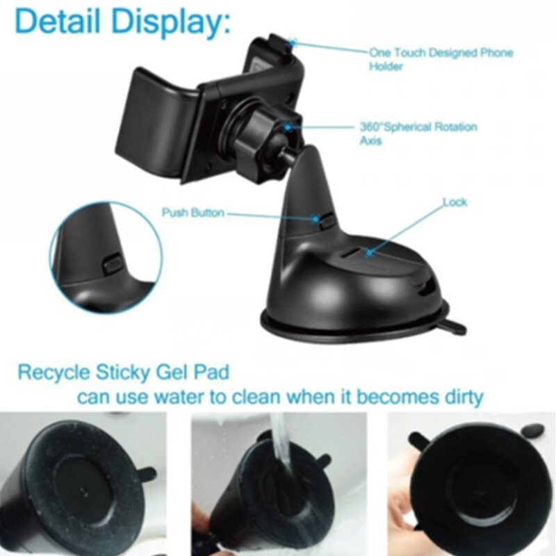Phone Holder & Stand - 3in1 Universial Car Windscreen Dashboard Air Vent Mount Phone Holder Stand - BLACK / WHITE