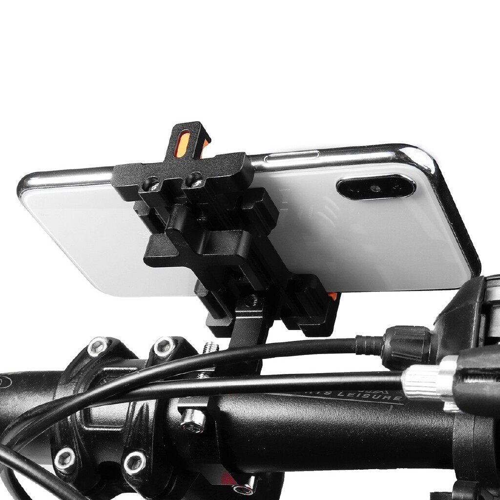 Phone Holder & Stand - Aluminum Motorcycle Bike Bicycle MTB Handlebar Phone GPS Holder Mount Bracket - TITANIUM / SILVER / BLUE / RED / GREEN