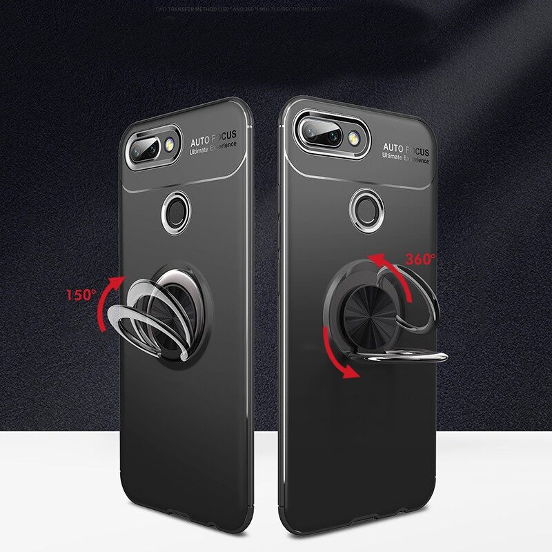 iPh Soft Cover - Cover Protective Case with Finger Ring Holder for Xiaomi Mi8 Lite - BLUE / BLACK & BLUE / RED / BLACK & RED / BLACK
