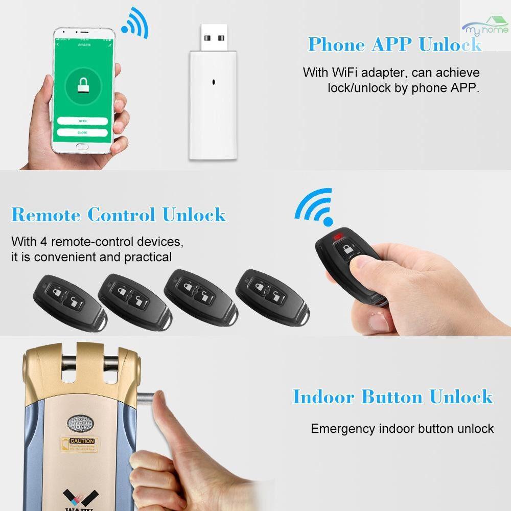 Chains & Locks - WAFU HF-018W WiFi Smart Electronic Lock Tuya / SmartLife Lock Remote Control Invisible Keyless - BLUE & GOLD-4 KEYS / BLUE & SILVER-4 KEYS / SILVER-4 REMOTE KEYS / BLUE & GOLD-2 KEYS / BLUE & SILVER-2 KEYS / SILVER-2 REMOTE KEYS