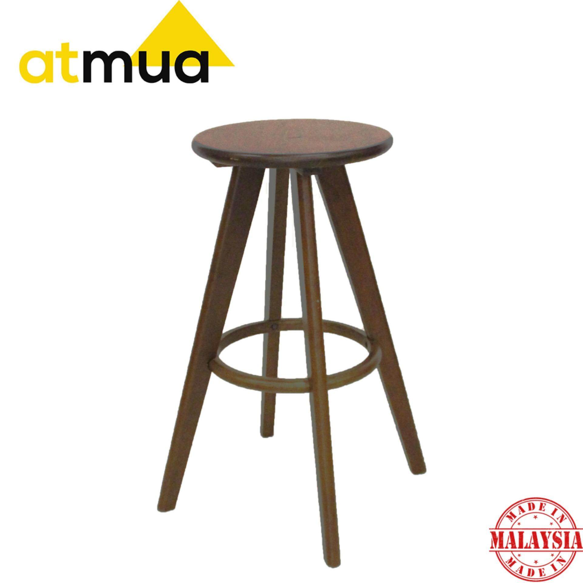 Groovy Atmua Jonathan Solid Wood Bar Stool Height 70Cm 30 Inch Solid Rubber Wood Theyellowbook Wood Chair Design Ideas Theyellowbookinfo