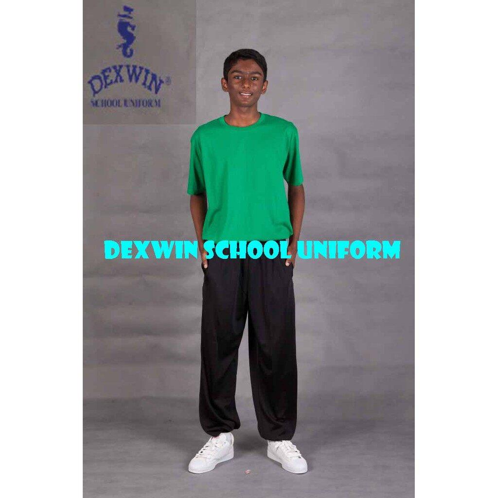 t-shirt hijau leher bulat tangan pendek kain cotton