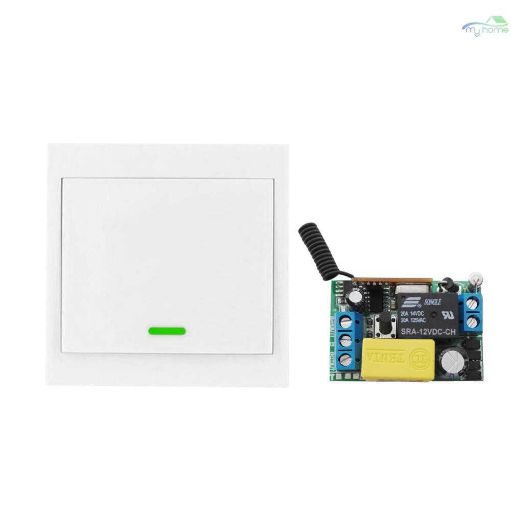 DIY Tools - WIRELESS Remote Control Switch AC 220V Receiver 1 Gang 433MHz Push Button Wall Light Switch Panel - WHITE