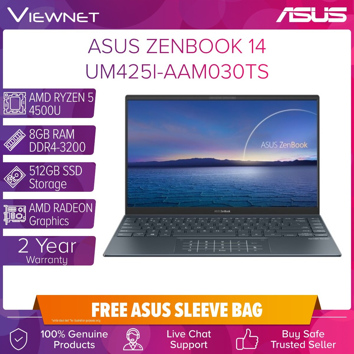 ASUS ZENBOOK 14 UM425I-AAM030TS LAPTOP AMD RYZEN 5 4500U 8GB DDR4 512GB SSD AMD RADEON GRAPHIC 14.0