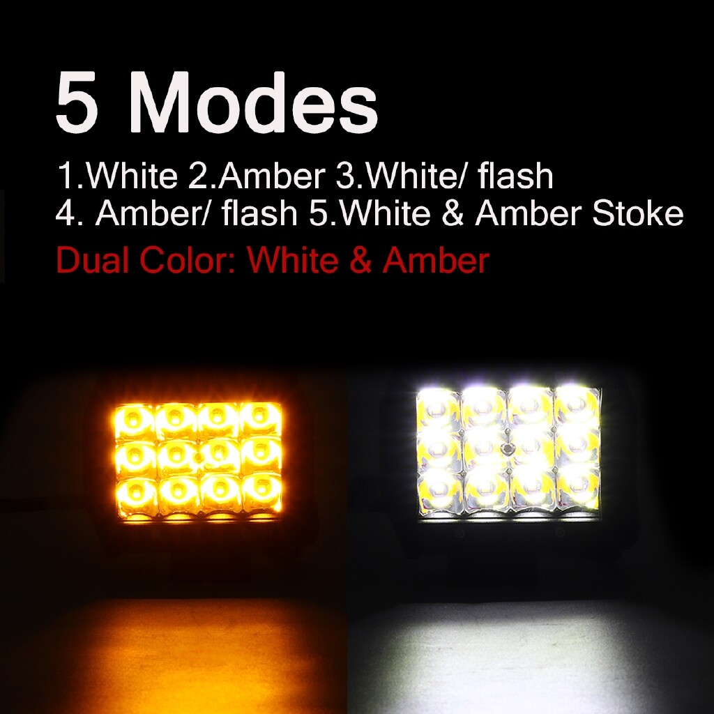 Car Lights - D Work Light Ba Type: Flash Lamp 3.5 in 36W 12 LED Work Light Bar Strobe Flash Lamp White & Amber - Replacement Parts