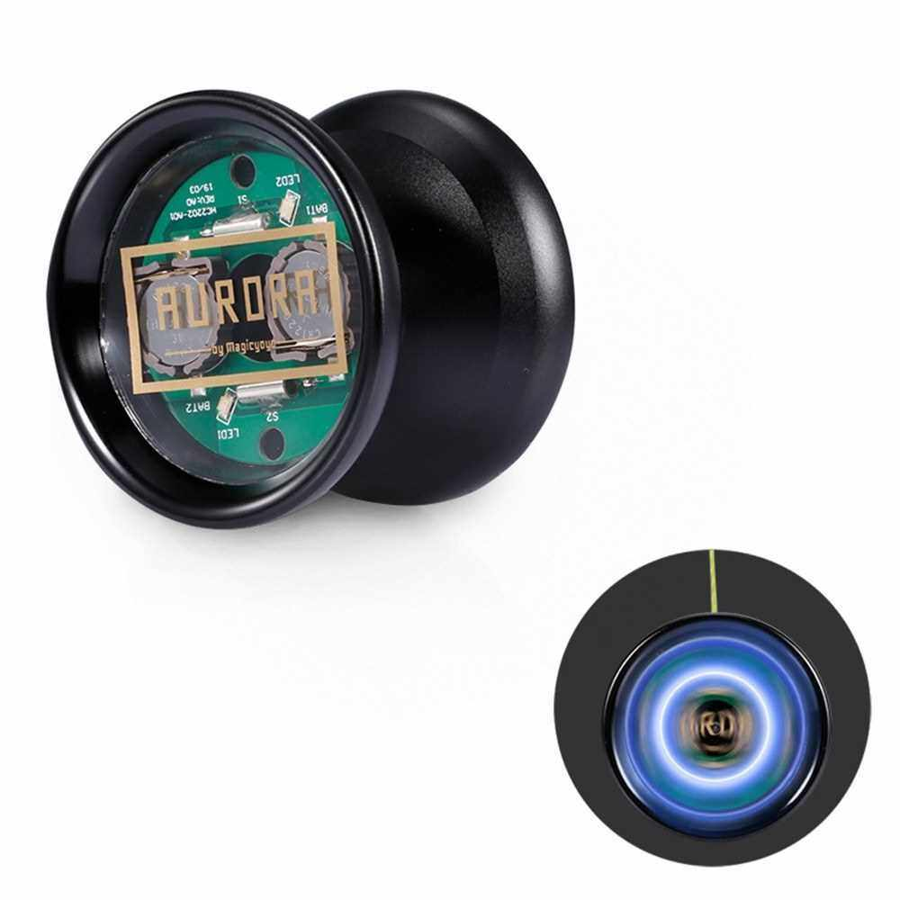 MAGICYOYO Unresponsive YoYo Aluminum Alloy Professional Yoyo Ball with LED Light Cover Remover String for Kids Adult (Black)