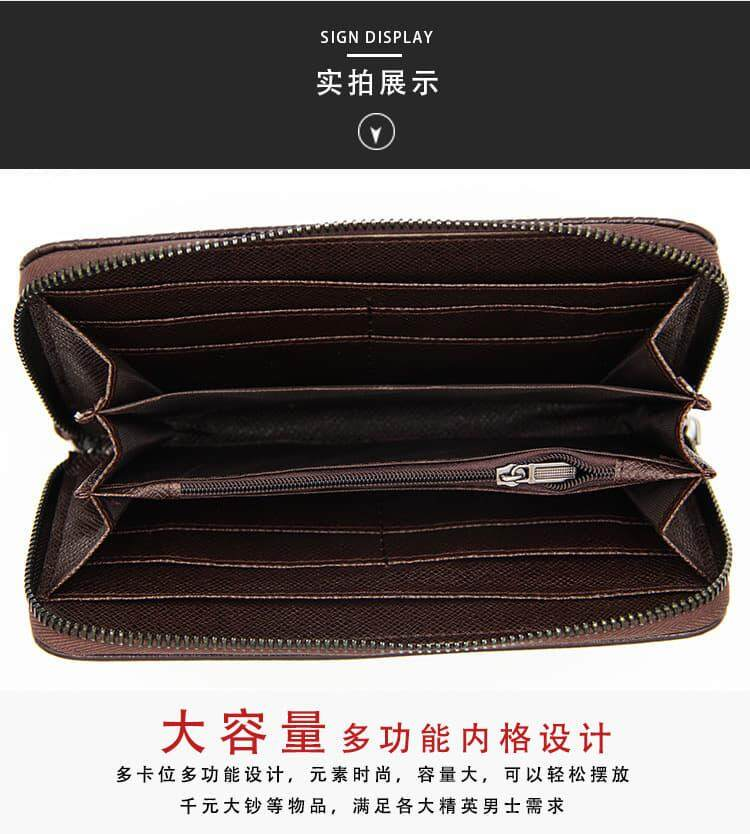 [M'sia Warehouse Direct] 2019 Korean Series Men's Leather Clutch Bag With String Multipurpose Fengshui Long Wallet Multifunctional Long Purse Perfect Gift For Husband And Father Can Fit Iphone Any Android Mobile Card Holder Dompet Panjang Halal Kulit