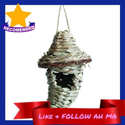 Best Selling Grass Bird Nest Bird Hut Cage House Breeding Cave Woven Hanging Birdhouses for Parrot Canary Cockatiel Resting Place (4)
