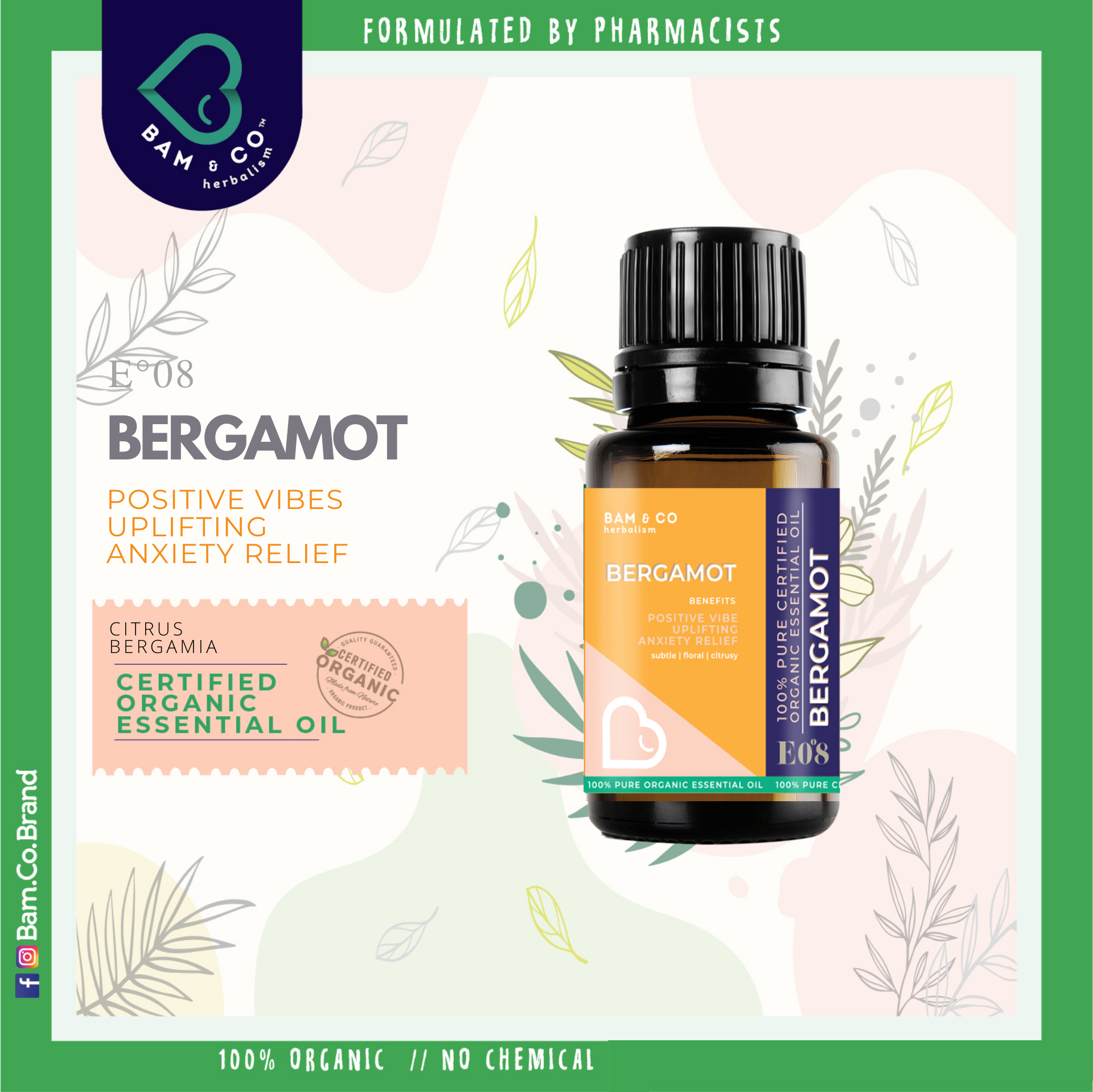 BAM & CO. BERGAMOT CERTIFIED PURE ORGANIC ESSENTIAL OIL PERFECT FOR HUMIDIFIER 5ML 10ML