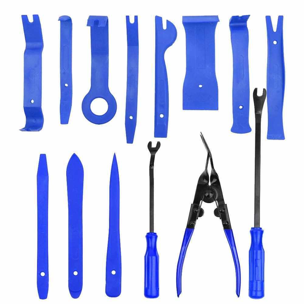 19pcs Auto Car Audio Radio Interior Door Panel DIY Plasti c Demolition Installation Pry Tool Repairing Hand Tools Kit Screwdriver Keys Pliers Remover (Blue)