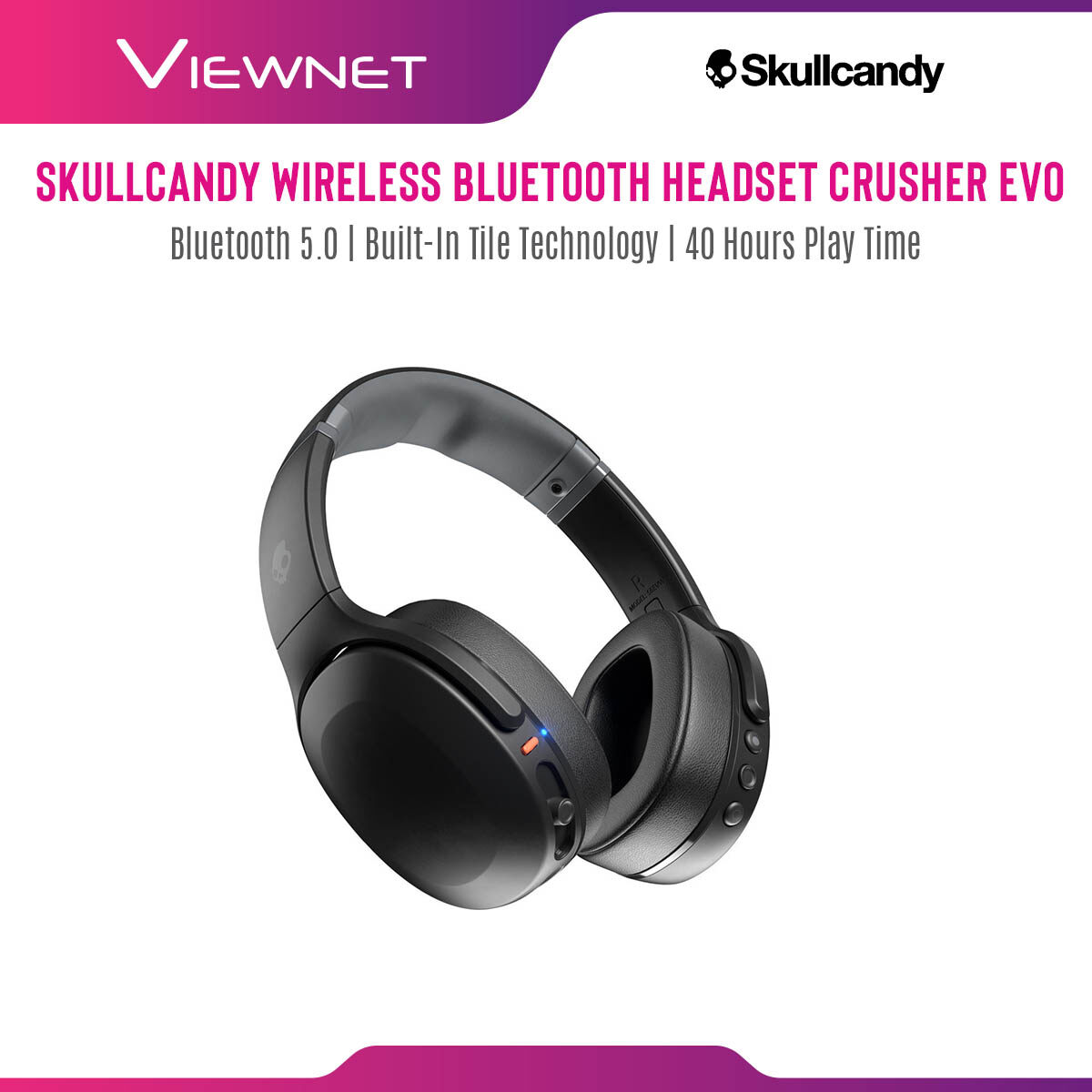 Skullcandy Crusher Evo Sensory Bass Headphones with Personal 40 Hours of Battery + Rapid Charge