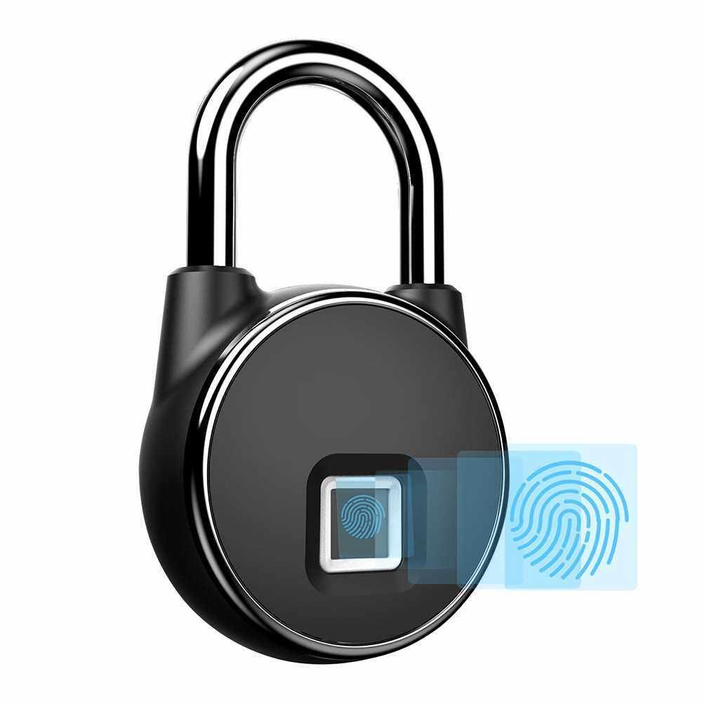USB Rechargeable Smart Keyless Fingerprint Lock (Black)