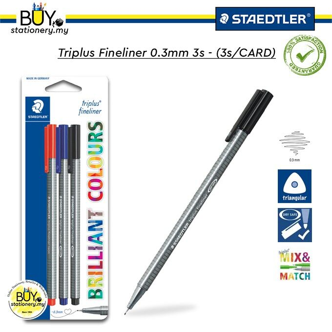 Staedtler Triplus Fineliner 0.3mm 3s - (3s/CARD)