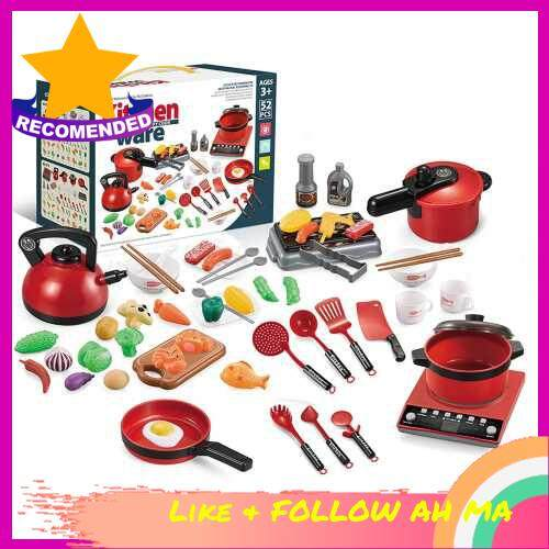 Best Selling 52PCS Kitchen Play Toy Kids Pretend Playset with Cookware Pots and Pans Set Play Food Fruits Cooking Utensils Toy Cutlery Early Educational Toys for Girls Boys Kids (Red)