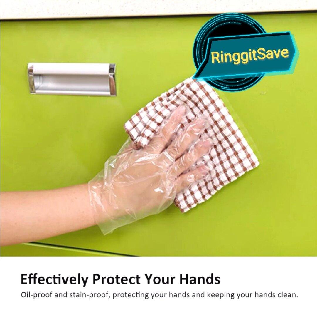 100 PCS / 50 Pairs Disposable Adult Food Prep Plastic Gloves Sarung Tangan Plastic Food Safe Disposable Gloves Buy 1 Free 1